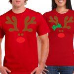 Playera roja navideña con renos