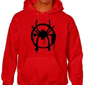 Sudadera roja con logo negro de spiderman nuevo universo
